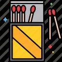 matches, burning, fire, matchbox, matchsticks