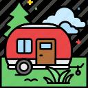 park, rv, trailer, campsite icon