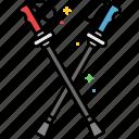 hicking, poles, stick, trekking, walking icon