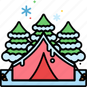 camping, winter, campsite, snow