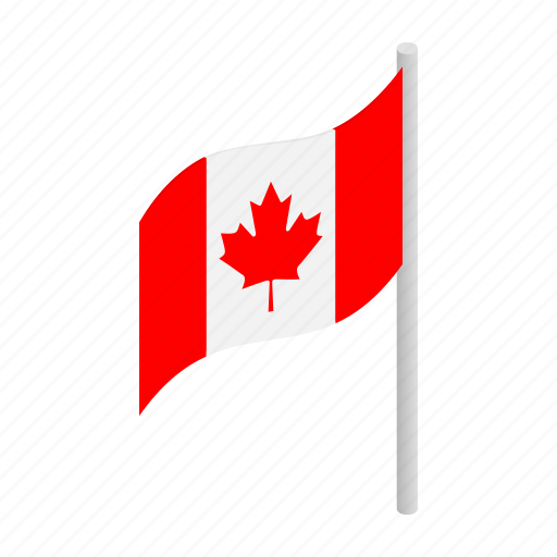 canada, canadian, flag, isometric, leaf, maple, national icon