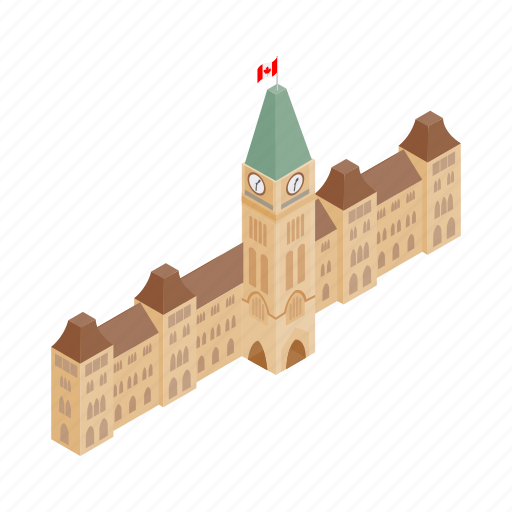 building, canada, canadian, capital, government, isometric, ontario icon