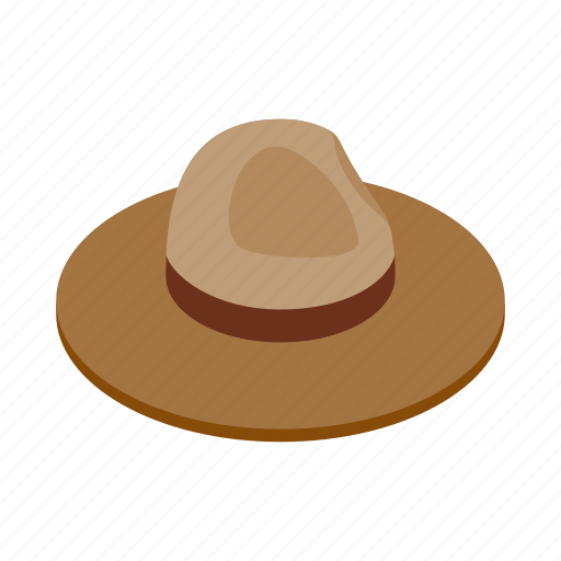 brown, canada, farmer, hat, isometric, traditional, vintage icon