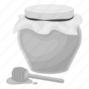 food, holiday, honey, porridge, pot, spoon icon