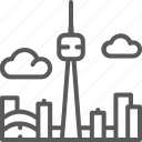 america, building, canada, city, skyline, toronto, travel icon