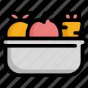 cancer, diet, fruit, health, vegetable, virus icon
