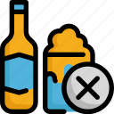 alcohol, beer, cancer, no, virus, whisky, wine icon