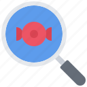 candy, food, magnifier, search, shop, sweet, sweetness icon