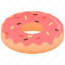 dessert, donut, strawberry glaze icon
