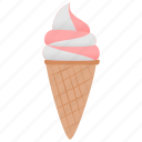 dessert, frozen, ice cream, strawberry, vanilla icon