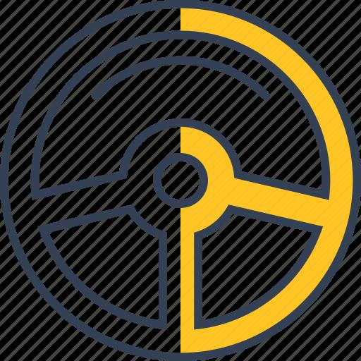 car, rudder, transport icon