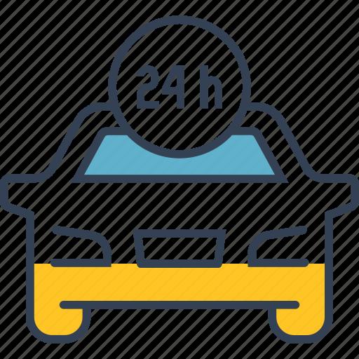car, clock, day, transport icon