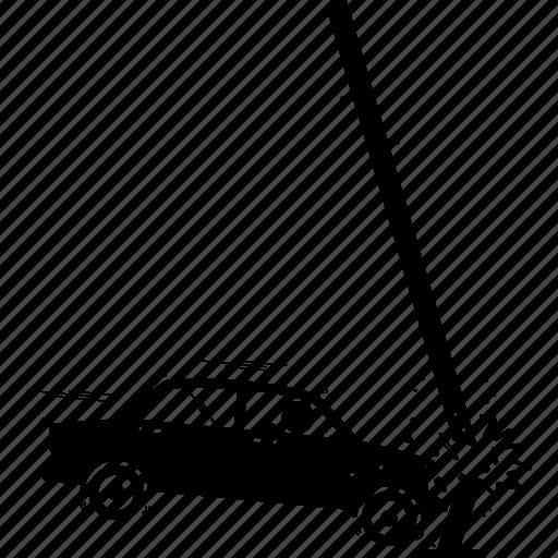 accident, car, crash, hit, pole icon