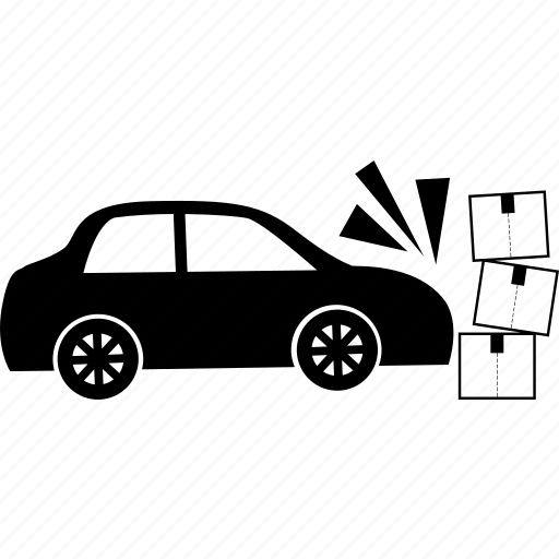 accident, box, break, broken, car, hit, package icon