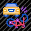 accident, airbag, bike, burning, car, crash, deployed