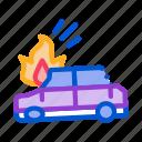 airbag, broken, burning, car, crash, deployed, ignition