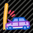 airbag, burning, car, crash, into, plunging, pole
