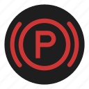 brake, dashboard, parking, stop icon