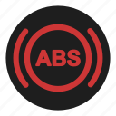 abs, anti, block, brake, dashboard, safety, system icon