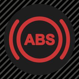 abs, anti, block, brake, dashboard, safety, system icon