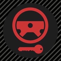 dashboard, immobilizer, key, lock, steering, warning, wheel icon