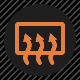 dashboard, defrost, heating, rear, window icon