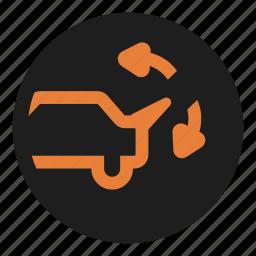 dashboard, regulate, spoiler, warning icon