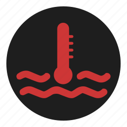 coolant, dashboard, heat, hot, over, temperature, water icon
