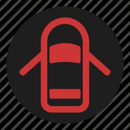 dashboard, doors, open, warning icon