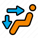 ac, air, direction, face, feet, vent icon