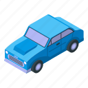 blue, car, cartoon, isometric, old, retro, vintage