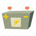 acid, automotive, car battery, cartoon, electric, fuel, poles icon