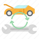 car, repair, service, transportation, wrench icon