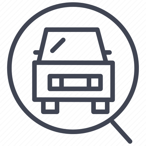 cars, find, magnifier, search, transportation, vehicle icon