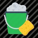 bucket, soap, washing, cleaning, sponge, laundry icon