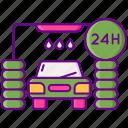 24h, car, service, wash icon