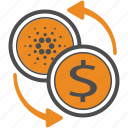 cardano, cash, money, transfer icon