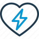 bolt, electric, heart, heartbeat, hospital, medical, pulse icon