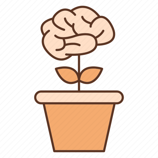 advancement, awareness, brain, business, career, invest, plant icon