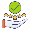 approved, feedback, positive, rating, stars icon