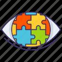 puzzle, eye, vision, strategic icon