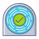 approved, crypto, fingerprint, uniqueness icon
