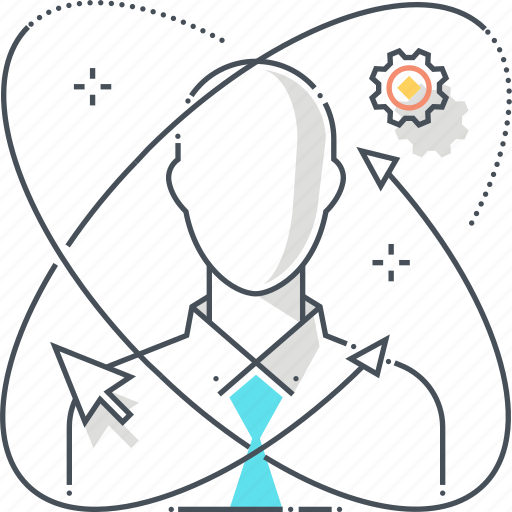 atom, businessman, cursor, employee, learning, personal development, skills icon