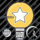 clock, creativity, electricity, idea, lamp, light, star icon