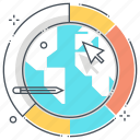 business, cursor, earth, global progress, pen, pie chart, statistics icon