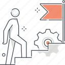 achievement, employee, figure, goal, promotion, stairs, stick icon