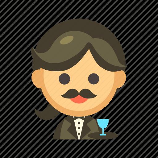 butler, restaurant, servant, service, tray, waiter icon