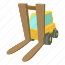 cargo, cartoon, forklift, front, lift, loader, shipper icon