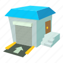 cartoon, lift, loading, stock, truck, unloading, warehouse icon