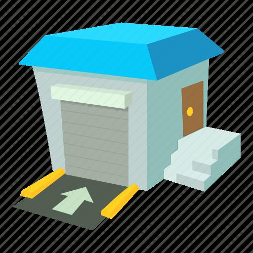 cartoon, lift, loading, stock, truck, unloading, warehouse icon